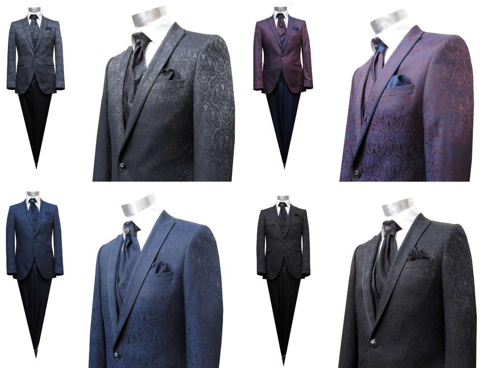 Elegante Hochzeitsanzug Herren Brokat Herrenausstatter aziko