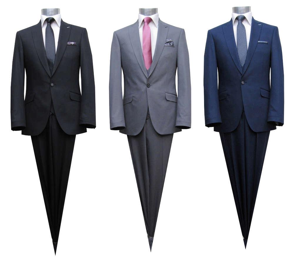 Herren Slim Fit Anzug mit Moderne Weste Herrenausstatter